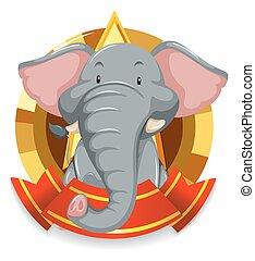 gris, bannière, gabarit, éléphant