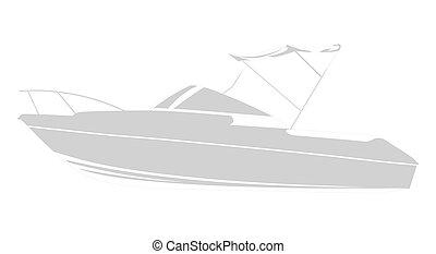 gris, bateau, logo