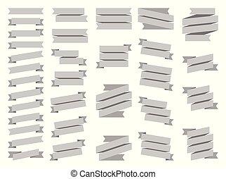 gris, blanc, ensemble, ruban, fond