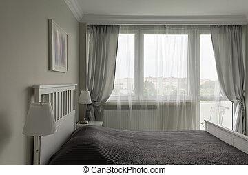 gris, blanco, romántico, dormitorio