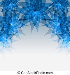 gris, blue-, résumé, fond, floral, fleurs