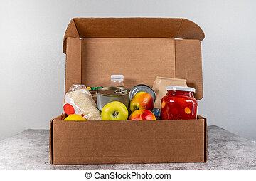 gris, boîte, gens, nourriture, ouvert, donation, fournitures, isolement, table
