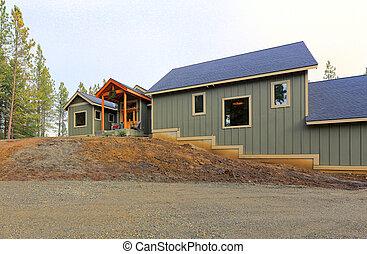 gris, bois, pays, grass., vert, extérieur, maison, nouveau