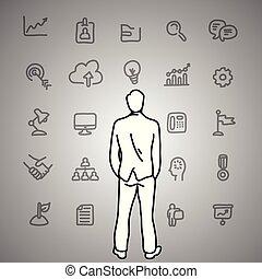 gris, bosquejo, iconos del negocio, pared, garabato, concept., líneas, aislado, ilustración, mano, mirar, fondo., vector, negro, hombre de negocios, dibujado, dilemma.