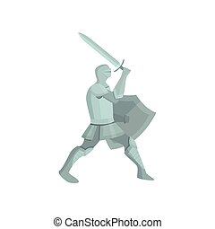 gris, bouclier, figure, armure, chevalier, attaque, aller, épée