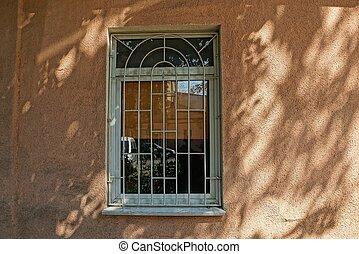 gris, brun, gril, mur, béton, fenêtre, fer