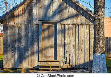 gris, brun, maison bois, parc, cabine