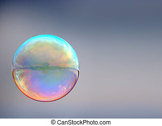 gris, burbuja, jabón, plano de fondo