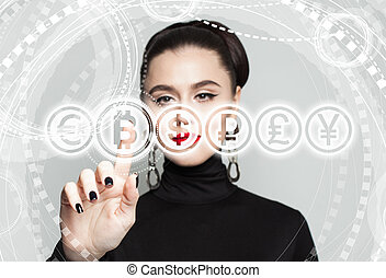 gris, business, blockchain, symbole., transferts, fond, bitcoin, concept, femme