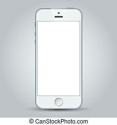 gris, business, mobile, isolé, téléphone, fond, blanc