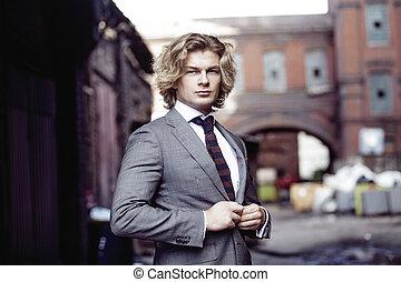 gris,  Business, mur, jeune, complet, fond, homme affaires,  portrait,  Style