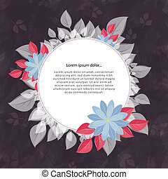 gris, cadre, fleur, rond, texte