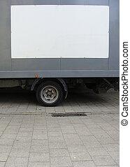 gris, camión, blanco, lado, vacío, panel