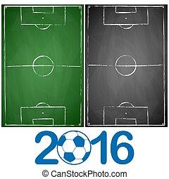 gris, campos, negro, tabla, verde, futbol