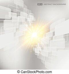 gris, carrée, arrondi, résumé, rhombe, éclairage, vecteur, perspective, fond, blanc, technologie, géométrique