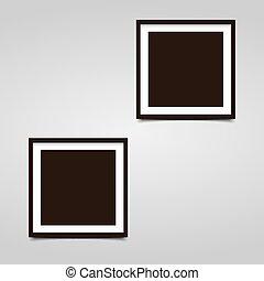 gris, carrée, porte-photo, deux, fond, ombre