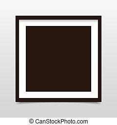 gris, carrée, porte-photo, fond, ombre