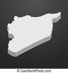 gris, carte, arrière-plan noir, syrie, 3d