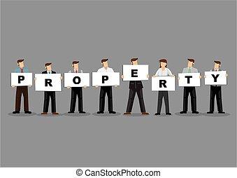 gris, cartes, tenue, affaires propriété, gens, planche, titre, arrière-plan., illustration, blanc