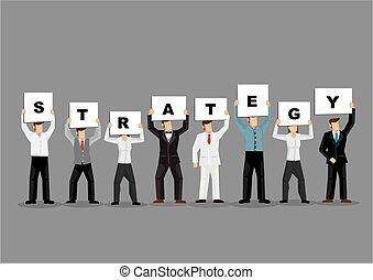 gris, cartes, tenue, stratégie, professionnels, planche, titre, arrière-plan., illustration, blanc
