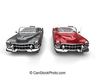 gris, cerise, mur, voitures, -, pneus, vendange, blanc, côté, rouges, frais