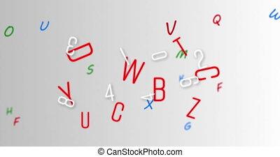 gris, changer, nombres, contre, alphabets, arrière-plan numérique, animation, multiple