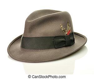 gris, chapeau