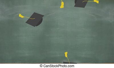 gris, chapeau, remise de diplomes, fond, tomber
