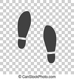 gris, chaussures, signe., sombre, arrière-plan., imprimer, soles, transparent, icône