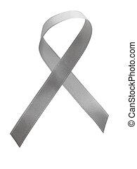 gris, cinta, conocimiento, aislado, blanco, plano de fondo
