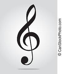 gris, clef, g, fond