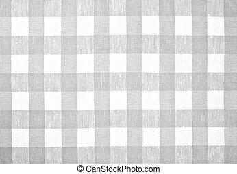 gris, comprobado, tela, mantel