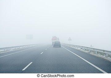 gris, conduite, route, voitures, brouillard, brumeux