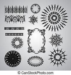 gris, conjunto, negro, bac, patrones