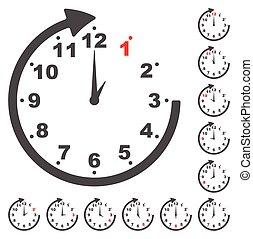 gris, conjunto, reloj, iconos, cada, tiempo