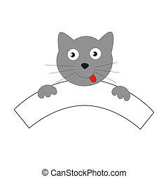 gris, content, museau, cat.