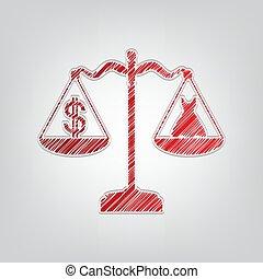 gris, contour, dollar, lumière, robe, balances., symbole, rouges, arrière-plan., artistique, ficelle, illustration., gradient, icône, gribouiller