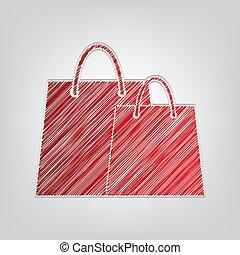 gris, contour, lumière, signe., rouges, achats, artistique, ...