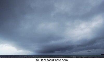 gris, couche, nuages, lourd, dériver, métrage, over., dense...