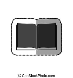 gris, couleur, autocollant, grayscale, milieu, livre, feuilles, ombre, ouvert
