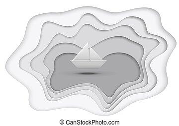gris, coupure, illustration., isolé, lac, papier, arrière-plan., vecteur, bateau, blanc