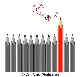 gris, crayons, crayon, lumière, concept., idée, vecteur, bulb., dessin, rouges