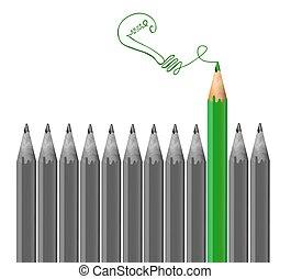 gris, crayons, crayon, lumière, concept., idée, vecteur, ...