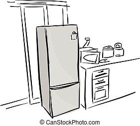 gris, croquis, griffonnage, lignes, isolé, illustration, main, vecteur, arrière-plan noir, dessiné, blanc, réfrigérateur, cuisine