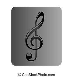 gris, cuadrado, botón, con, señal, música, clave de sol