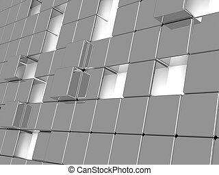 gris, cubes, résumé, métallique, fond, consister