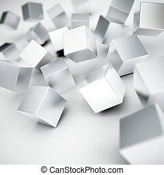 gris, cubos, metálico, golpear, plano de fondo, caer, blanco