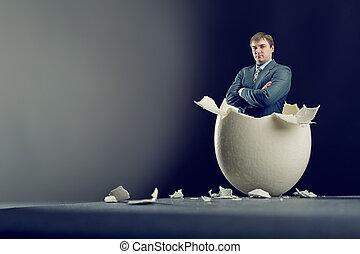 gris, dentro, aislado, plano de fondo, huevo, hombre