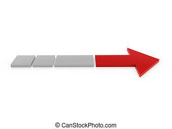 gris, derecho, flecha roja, 3d