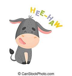 gris, donkey., ilustración, fondo., vector, blanco, caricatura